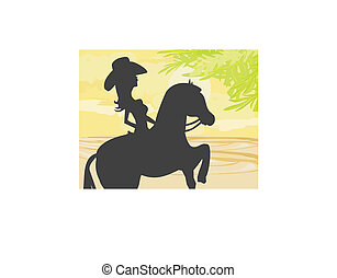 Silhouette of Cowgirl and Horse