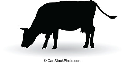 silhouette of cows grazing vector illustration
