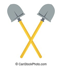 Silhouette of Crossed Shovels on a Light Background, a Tool for Digging, Black and White Vector Illustration