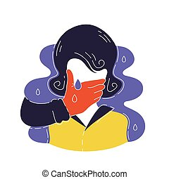 Silhouette of crying woman vector