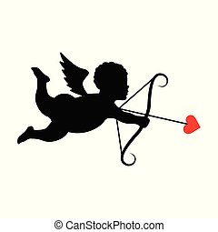 Silhouette of cupid in flat style.Vector illustration