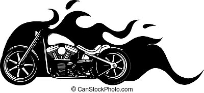 silhouette of custom motorcycle with flames vector illustration design