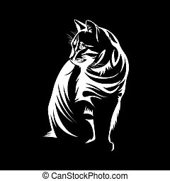 silhouette of cute cat face isolated on black background vector illustration 2