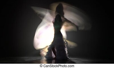 Silhouette of dancer in lace dress hands wings. Smoke...