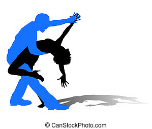 latin dance - silhouette of dancers in latin dance