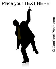 dancing businessman pointing upward