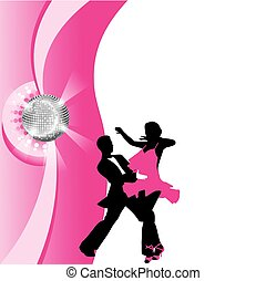 silhouette of dancing couple - dance couple in the rays of...
