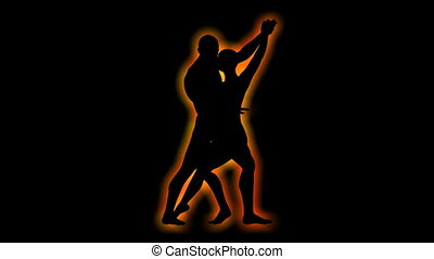 Silhouette of dancing couple rotating loop able