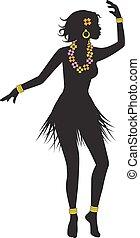 silhouette of dancing Hawaiian