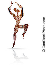 Silhouette of dancing men in ethnic style