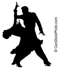 Silhouette of dancing pair - Silhouette of a dancing pair