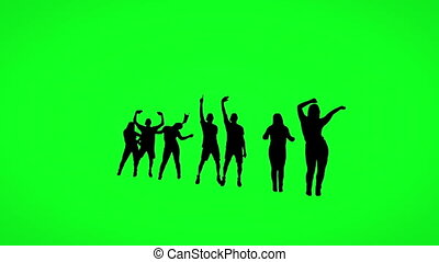 Silhouette of dancing people on green screen