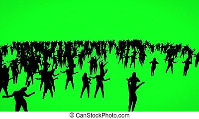 Silhouette of dancing people on green screen