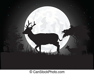 silhouette of deer - vector illustration of Beautiful Deer...