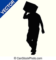 Silhouette of deliveryman carrying a box
