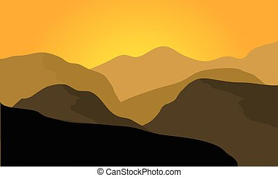 Silhouette of desert landscape