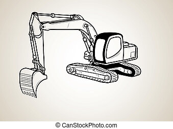 black silhouette of dozer isolated on the background