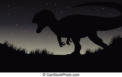 Silhouette of dilophosaurus at night