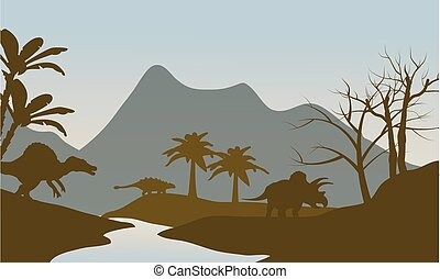 Silhouette of dinosaur in riverbank