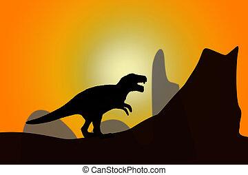 dinosaur - Silhouette of dinosaur