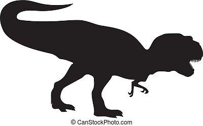 Silhouette of dinosaur Tirex in black. Vector illustration