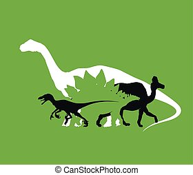 Silhouette of dinosaurs the Jurassic period, overlapping layers, vector illustration