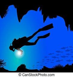 silhouette of diver