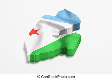 Silhouette of Djibouti map with flag