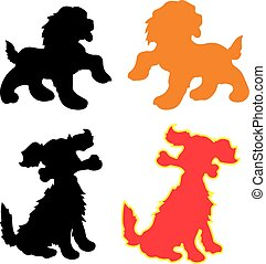 Silhouette of dog-symbol of the year (red, yellow, black,), cartoon on white background,