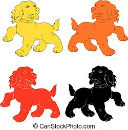 Silhouette of dog-symbol of the year (red, yellow, black, orange,), cartoon on white background,
