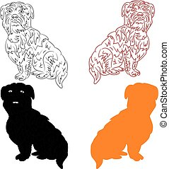 Silhouette of dogs (black, orange), cartoon on a white background.