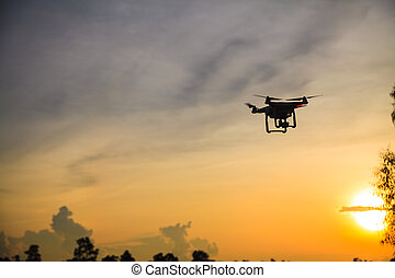 Silhouette of drone