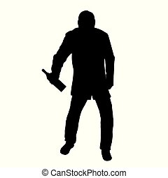 Silhouette of drunk man