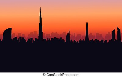 Silhouette of Dubai building at sunset scenery