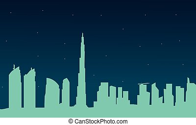 Silhouette of Dubai city at night