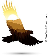 Silhouette of eagle with panorama of mountains. Valley(...