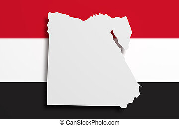 Silhouette of Egypt map with flag