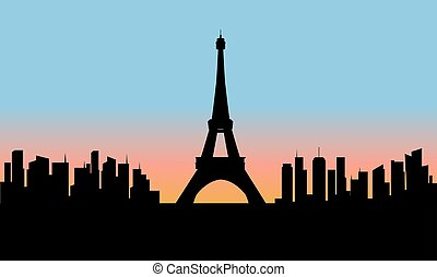 silhouette of eiffel tower cityscape