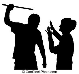 Silhouette of elderly woman being physically abused -...