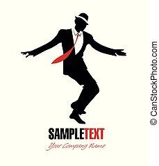 Silhouette of elegant man wearing retro clothes dancing swing