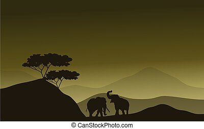 Silhouette of elephant in hills