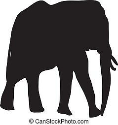 Silhouette Of Elephant On A White Background Vector