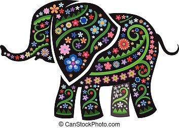 Silhouette of elephant with ethnic pattern