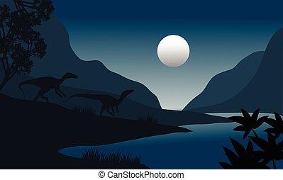 silhouette of eoraptor in riverbank