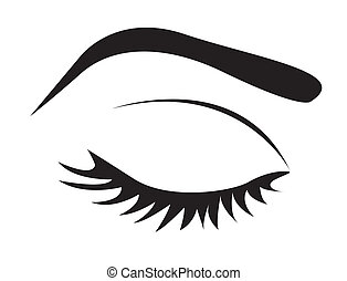 silhouette of eye lashes and eyebrow closed, vector...