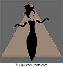 Silhouette of faceless vintage woman in evening dress, long gloves and hat