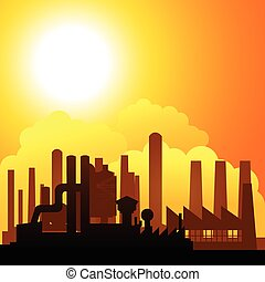 Silhouette of factories