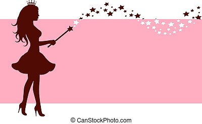 Silhouette of fairy with magic wand
