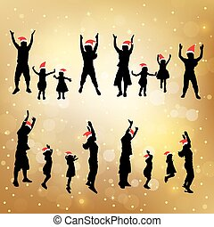 silhouette of family - silhouette of christmas family jump...