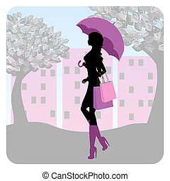 Silhouette of fashionable girl walking down the street with an umbrella in his hand